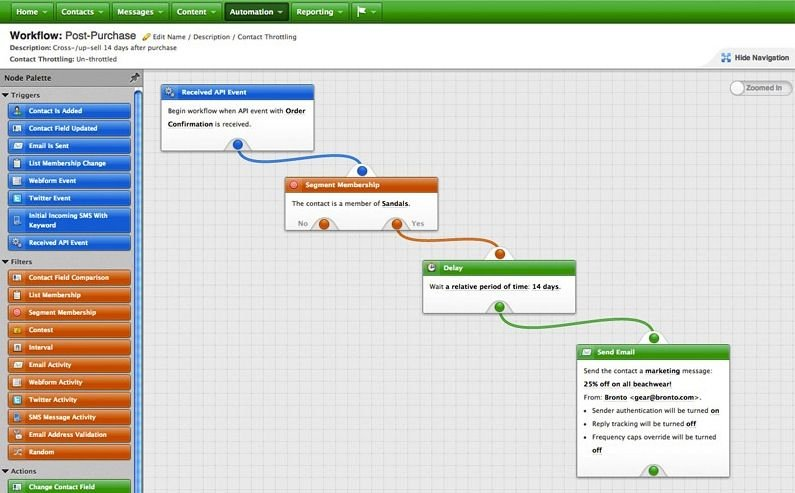 Bronto purchase workflow screenshot