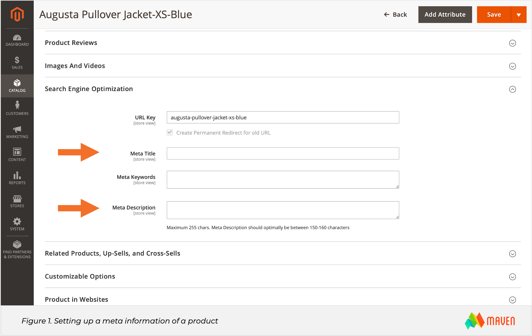 Magento SEO. Figure 1. Setting up a meta information of a product