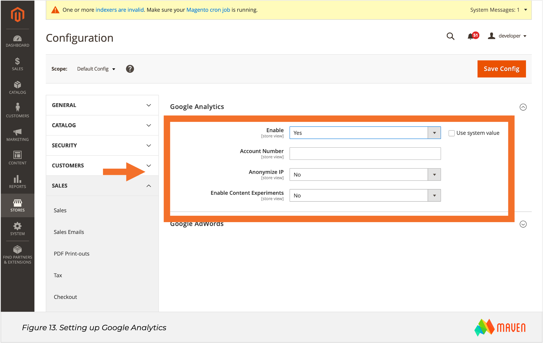 Magento SEO Figure 13 Setting up Google Analytics