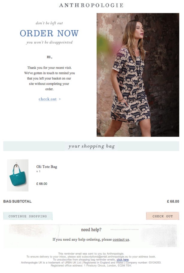 Anthropologie email screenshot