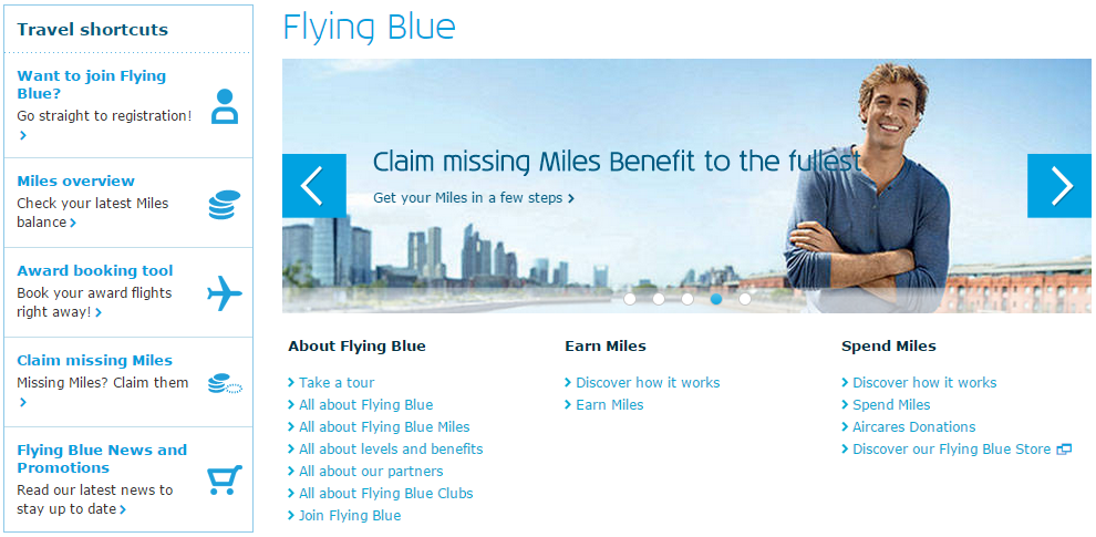 flying blue KLM loyalty screenshot