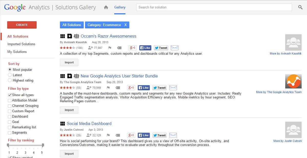 Google Analytics Solutions Gallery screenshot