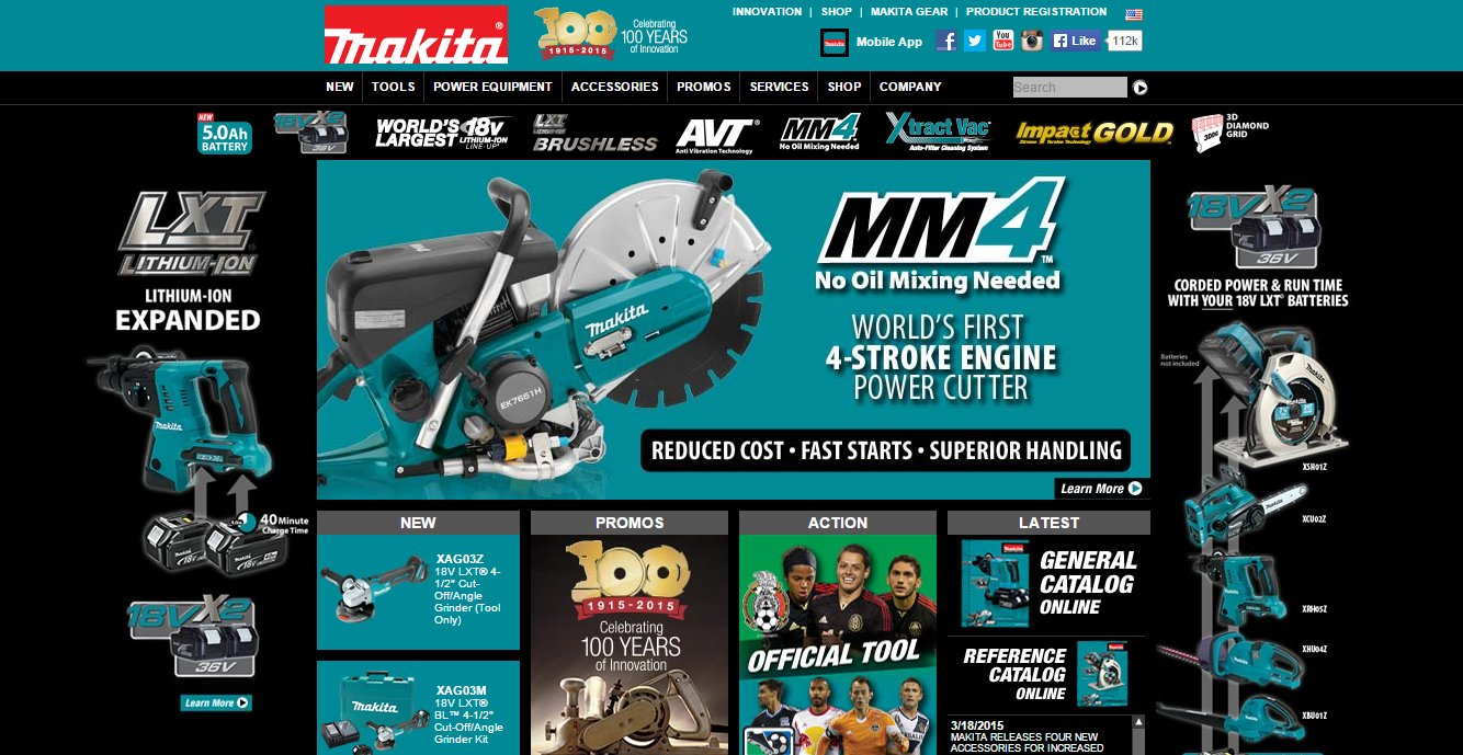 Makita Tools home page screenshot