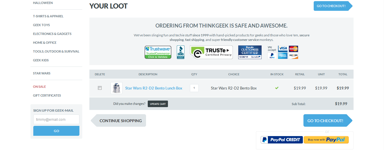 thinkgeek security cart