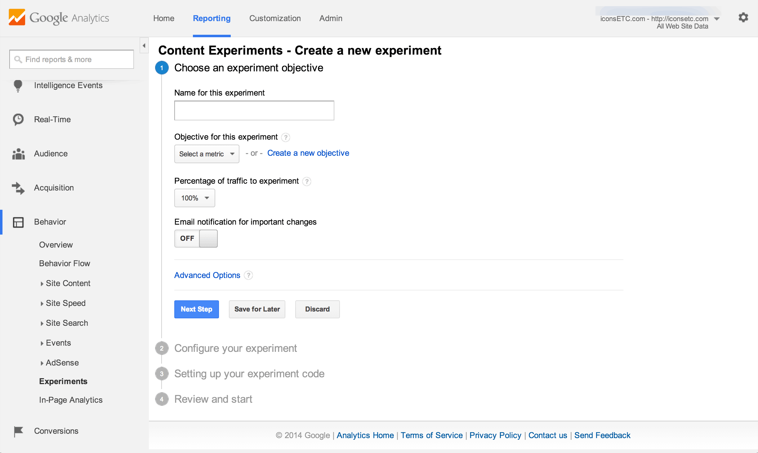 Content Experiments in Google Analytics