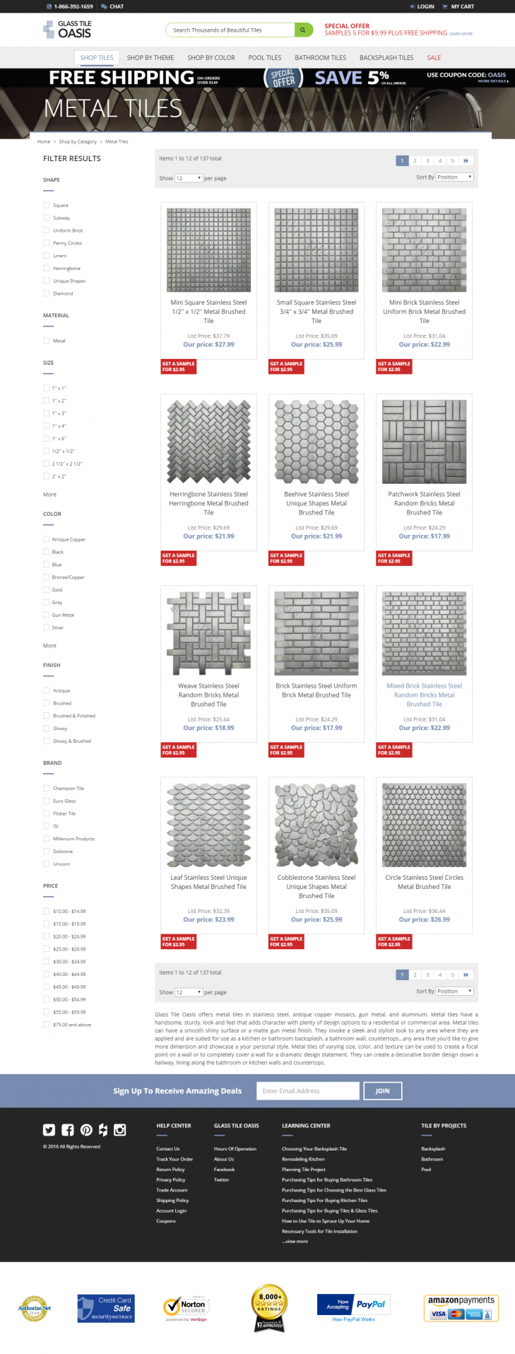 glass tile oasis category page