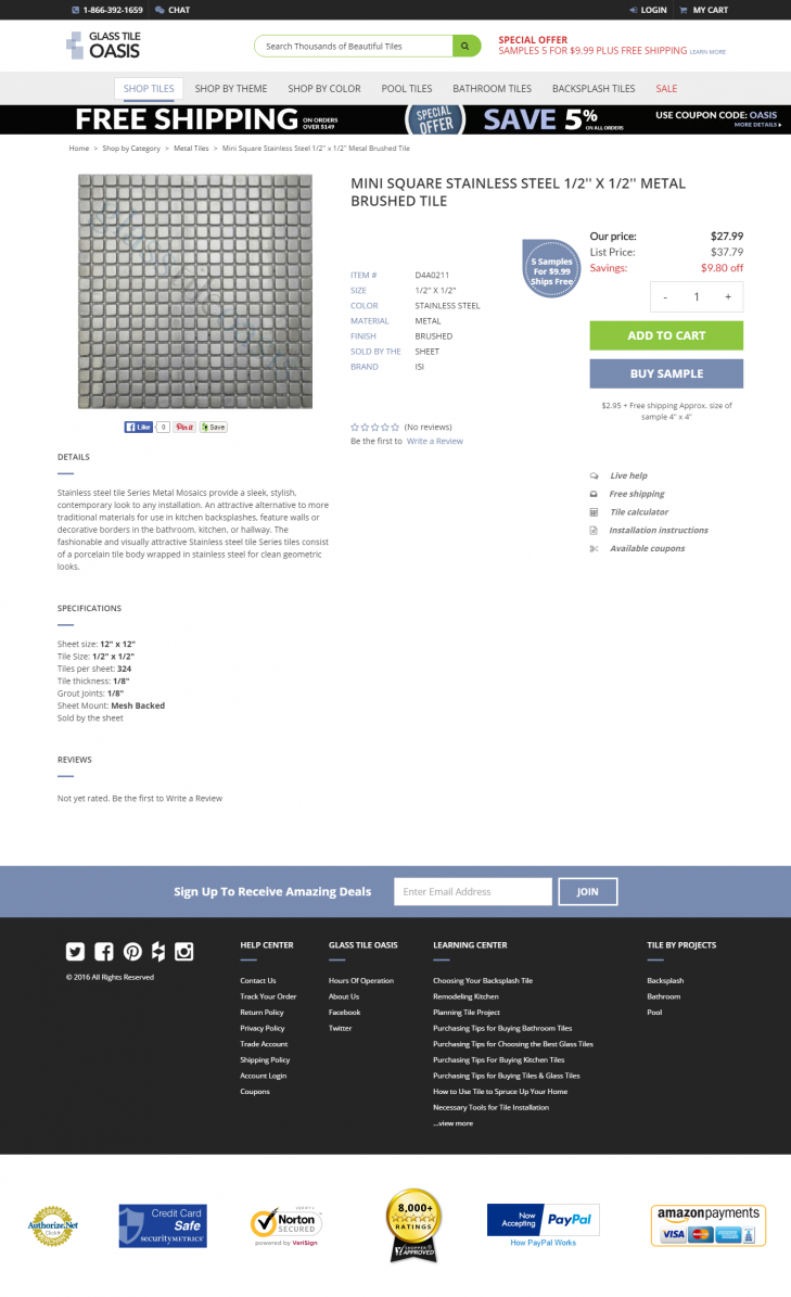 glass tile oasis product page