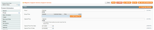 magento virtual product price