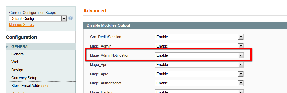 disable magento admin notification