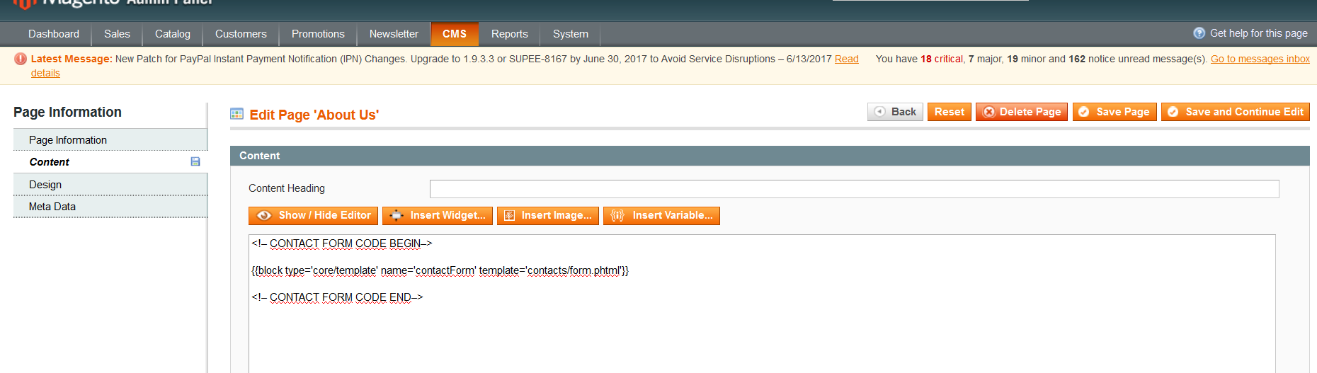 magento issues magento contact form