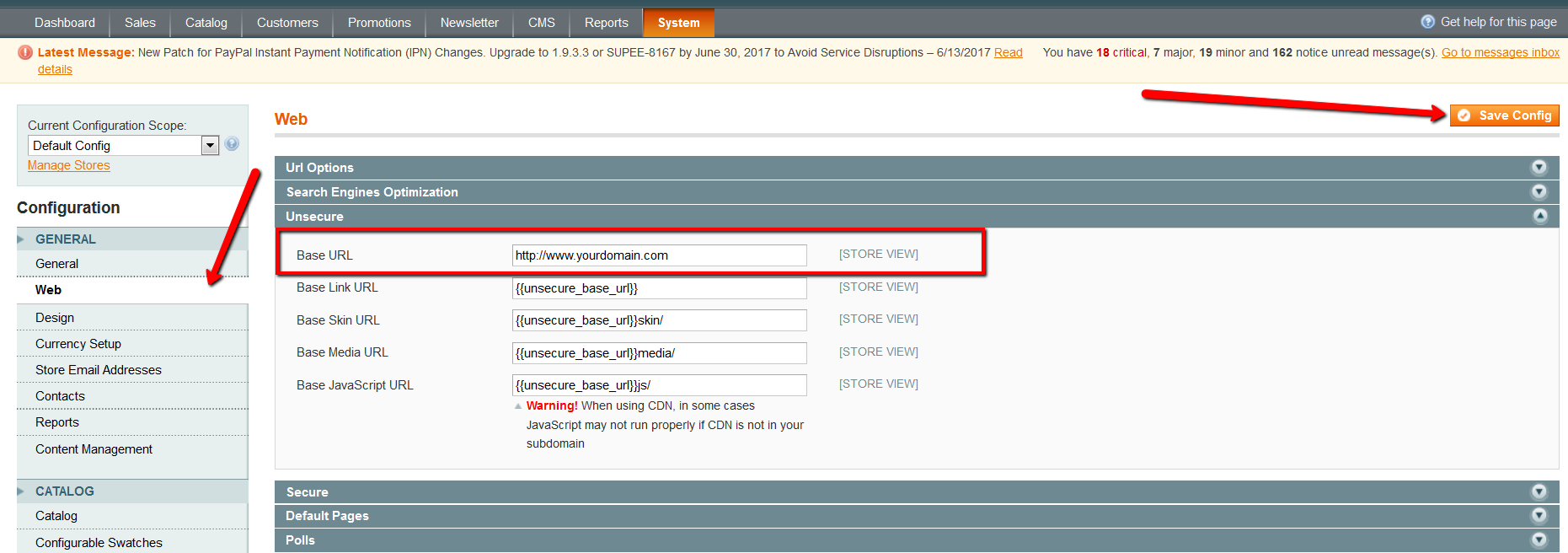 magento issues magento www version