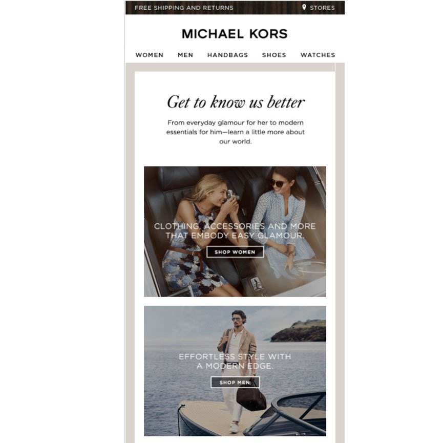 welcome email3 - Educational Content Michael Kors